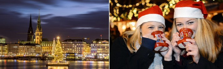 Christmas in Hamburg. Panoramic view of the decorated city center from Alster Lake, view to Hamburg Rathaus and a christmas tree installed in the center of the lake. Atmosphere before the New Year.